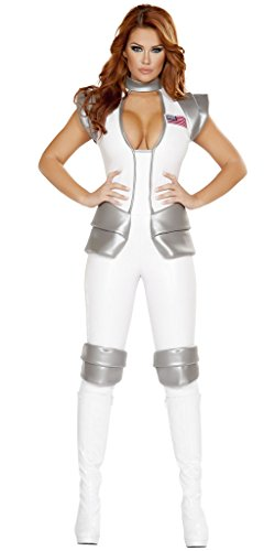 Atlantis Space Woman Commander Suit Halloween Costume - White/Grey - Large