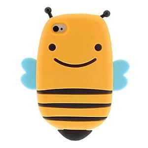 Estilo Bee 3D Caso suave de silicona para el iPhone 4/4S (colores surtidos) , Amarillo