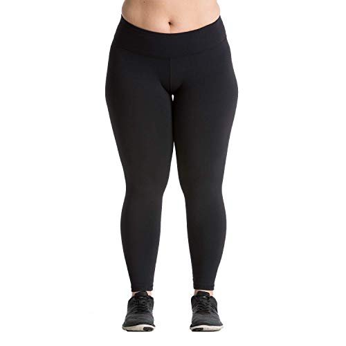 Plus Size Leggings - Premium Quality Women's Compression Yoga Pants for The Curvy Girl - Made in USA - Black 14-16 (XL) (Gym Pant Supplex)
