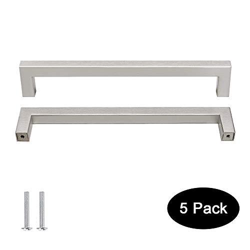 5 pack Probrico 1/2 in Stainless Steel Square Corner Bar Kitchen Cabinet Door Handles Brusehd Satin Nickel Hole Centers 7-1/2 inch 192mm