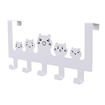 nuosheng 5 ganchos Perchero de pared de gato de dibujos ...