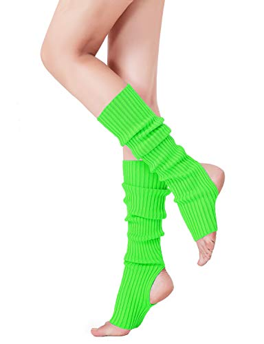 V28 Women 80s Party Warm Costume Marathon Knit Long Socks Leg Warmers (48Green)
