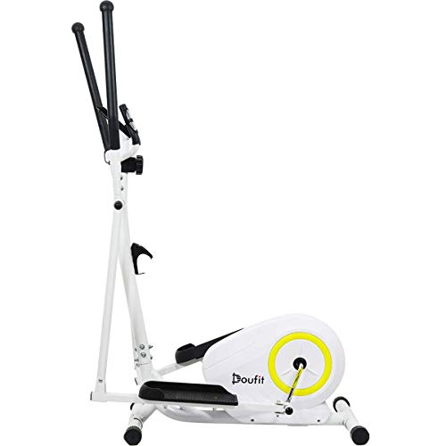 Doufit Elliptical Machine for Home Use, Portable Elliptical Trainer for Aerobic Exercise, Cardio Fitness Equipment with LCD Monitor and Adjustable Magnetic Resistance (Basic)