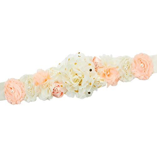 Pregnant Sash Maternity Sash Belt Girls Belt with Flowers for Baby Shower Dress Bridal Wedding Birthday Party Princess Dress Decorations - (Gold Dot Ivory, Peach)]()