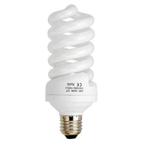 Compact Fluorescent Fixture - Fotodiox 30 Watt Daylight Compact Fluorescent (CFL) Light Bulb, Full Spectrum (5400k CRI~90) Daylight White Light High-Wattage Bulb, Great for Photo & Video Light Fixtures
