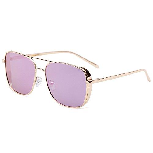 Gafas Puntes 1088c4 SJ1089 De Sol Doble Marco Hombre SJ1088 Unisex Rectagular Dorado Mujer SojoS Gafas Morado Espejo Lente Metal gwd8qn