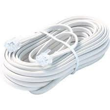 Bistras 25 Ft 4C Telephone Extension Cord Cable Line Wire, for any Phone, Modem, Fax Machine, Answering Machine, Caller ID , White