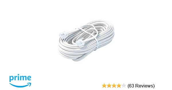amazon com: bistras 25 ft 4c telephone extension cord cable line wire, for  any phone, modem, fax machine, answering machine, caller id, white:  electronics
