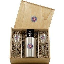 Marine Corps ''USMC'' Wine Set w/ Box - Enameled
