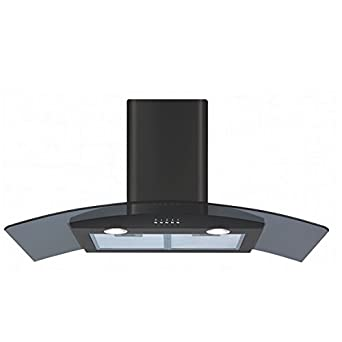 CDA ECP92BL 90cm Curved Glass Cooker Hood Extractor Fan In Black