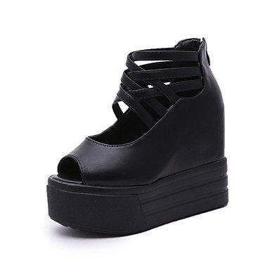 LvYuan Mujer-Tacón Cuña-Zapatos del club-Sandalias-Oficina y Trabajo Vestido Informal-PU-Negro Blanco Black