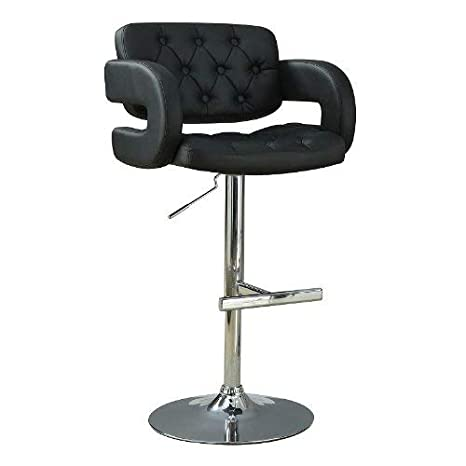 Fine Coaster Contemporary 29 Adjustable Bar Stool With Faux Leather Upholstered Seat Black Theyellowbook Wood Chair Design Ideas Theyellowbookinfo