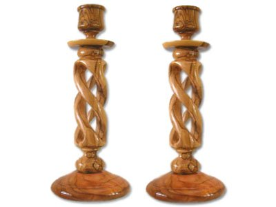 Pair of Olive Wood Hollow Twist Candle Holders by zytoon
