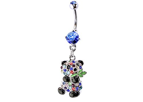 Panda Bear Dangle Surgical Steel Belly Button Ring 14G 3/8 bar Length With Cubic Zirconia Stones (COLORFUL) Bear Belly Ring