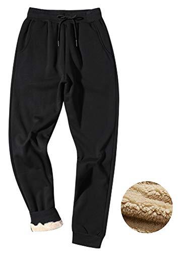 Gihuo Men's Winter Fleece Pants Sherpa Lined Sweatpants Active Running Jogger Pants (Black, Small)