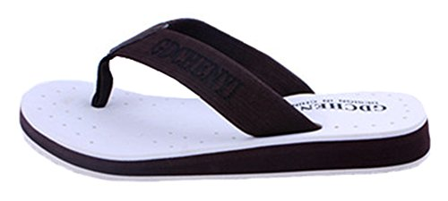 Sfnld Mens Casual Thong Contrast Color Summer Beach Sandals Flip Flops White Ji0gFuJ