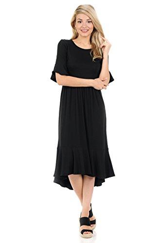 iconic luxe Women's Premium Knit Cropped Bell Midi Dress Large (Womens Black Knit Ruffle Dress)