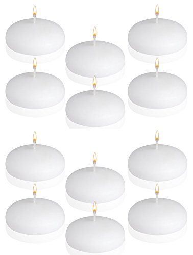 (12 Floating Candles - Disc Candles - 3 Inches Wide - White - Made in USA)