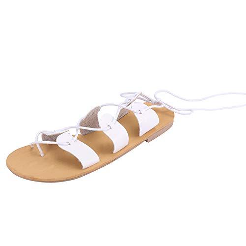 Romano Bohemian Estivi Sandali Donne Scarpe Eleganti Meibax Blanco Spiaggia Piatta Caviglia Donna Semplice tOqP1Y