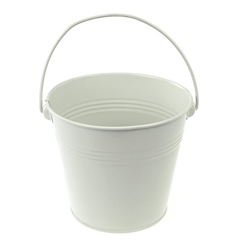 (Homeford Firefly Imports Metal Pail Buckets Party Favor, 5-Inch, White,)
