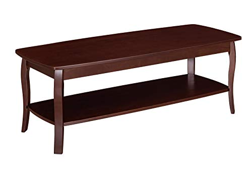 - Ravenna Home Anne Marie Wood Shelf Curved Leg Storage Coffee Table, 52.5
