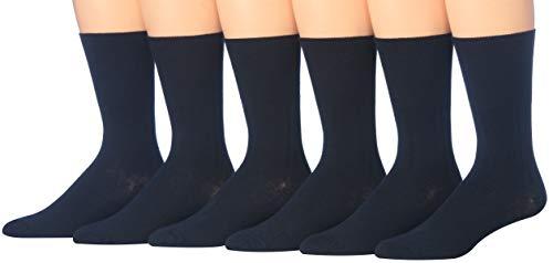 James Fiallo Men's 6-Pair Diabetic Dress Crew Cotton Socks, Non-Binding, losse Top, (Black) (Mens Loose Top Socks)