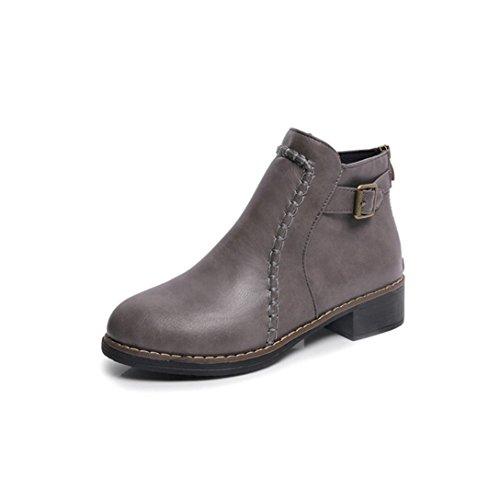 Botas Mujer,Ouneed ® Moda mujer plana tobillo botas de cuero botas de Martin motos Gris