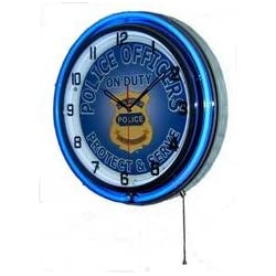 Neon 18 Tin Wall Clock Police Officers On Duty Blue