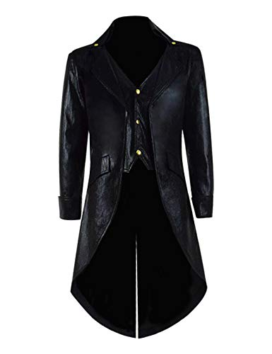 Mens&Boys Vintage Steampunk Tailcoat Costume Gothic Victorian Long Frock Coat Halloween Cosplay (Custom-Made, B-Black)