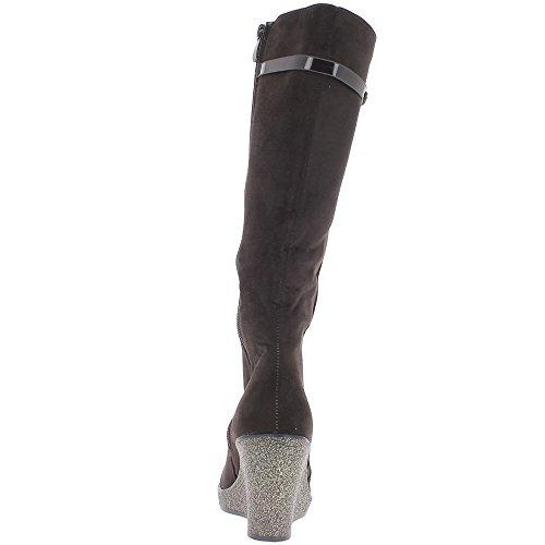 Bottes femme marron à talons pailletés compensés de 8cm