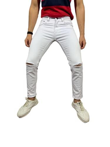 DaCovet White Denim Jeans for Men Knee Cut Slim Fit Branded Latest Jeans for Men Low Rise (Color White, Size 30)