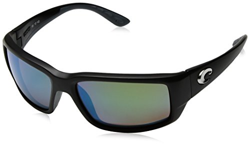 Costa del Mar Men's Fantail Polarized Iridium Rectangular Sunglasses, Matte Black Frame Green Mirror Glass-W580, 58.9 - Black Iridium