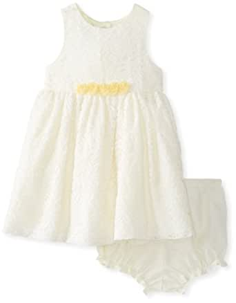 Marmellata Baby Girls' Yellow Dress with White Lace Overlay, Yellow, 18 Months