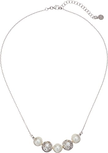 Majorica Women's 10mm Round Pearls and CZ Silver Pendant Necklace 17-19¿ White One (10mm White Round Pearl Necklace)