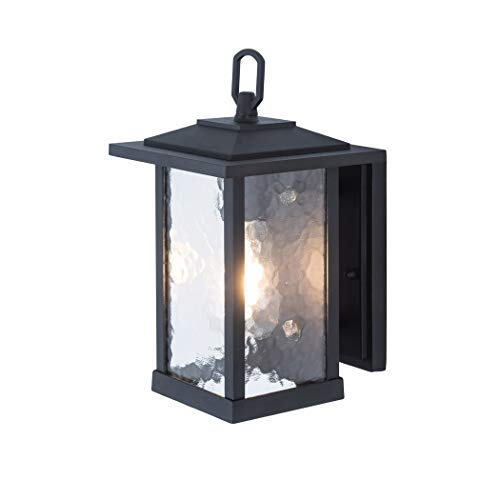 Outdoor Wall Lanterns/Sconce, 1-Light Exterior Wall Mount Light in Matte Black Finish with Water Glass, Aluminum Alloy Patio/Porch Lighting Fixture, 60W [並行輸入品] B07R7RDGLK
