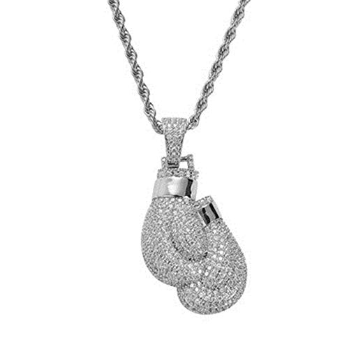 (BLINGMC Hip Hop Jewelry Personality Boxing Glove Pendant Silver Copper Inlay Zircon Necklace)
