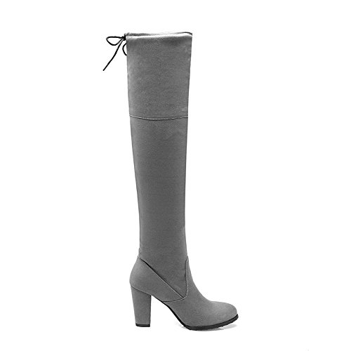 up Women's Gray Imitated Lace High Closed Heels Boots AgooLar Solid Suede Round Toe dq70dZ