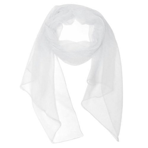 White Silk Long Scarf - Wrapables Solid Color 100% Silk Long Scarf, White,One Size