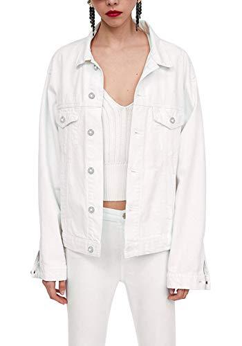 Tsher Women's Boyfriend Denim Jacket Long Sleeve Loose Jean Jacket Coats D003 (S, White)