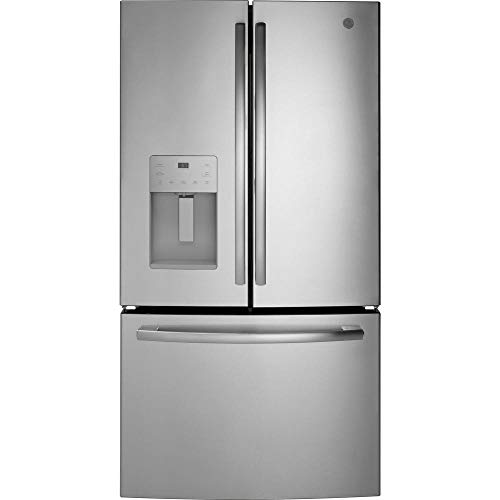 "GE GFE26JSMSS 36"" Energy Star French Door Refrigerator with 25.6 cu. ft. Capacity External Water and Ice Dispenser LED Lighting Spill Proof Shelves Energy Star ADA Compliant in Stainless Steel"