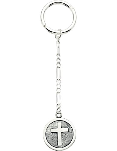 Sterling Silver Antiqued Church Cross Medal Key