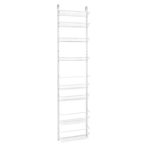 Jumbl Adjustable Wall Mounted 24 Inch Wide Hanging Spice Storage Rack, White