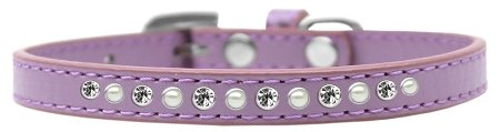 Mirage Pet Products Pearl and Clear Crystal Lavender Puppy Dog Collar, Size 16 by Mirage Pet Products
