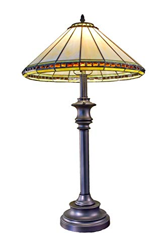 J Devlin Lam 644 Tiffany Stained Glass Table Lamp Ivory Opalescent with Amber Stones Round