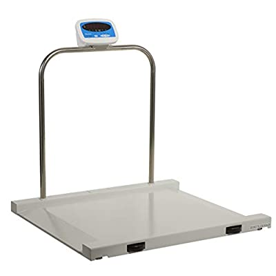 Brecknell MS-1000 Digital Portable Wheelchair Scale; 1000lb. Capacity, Bariatric/Handrail Scale, Steel Surface, Ramp Ends