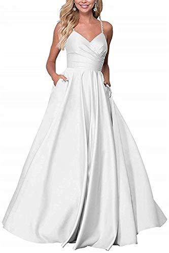 RYANTH Women's Long Prom Dress 2019 V Neck Beaded Straps Evening Ball Gown Backless R34 White 24W