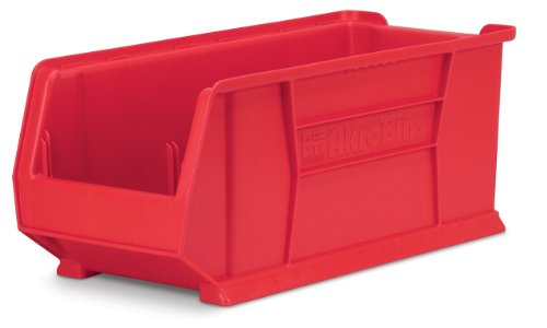 Akro-Mils 30287 24-Inch D by 11-Inch W by 10-Inch H Super Size Plastic Stacking Storage Akro Bin, Red, Case of 4 by Akro-Mils
