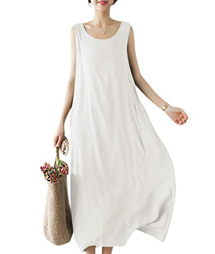 (YESNO Girls Casual Flowy Tank Dresses Loose Summer Beach Sun Dress EHG (L, EHG White))