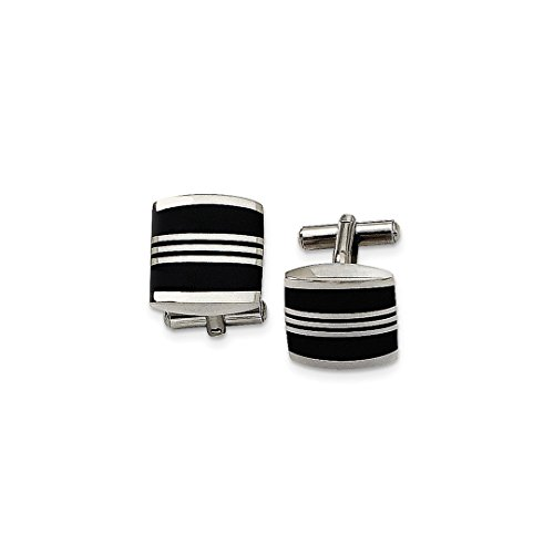 ICE CARATS Stainless Steel Enameled Cuff Links Mens Cufflinks Man Link Fashion Jewelry Dad Mens Gift Set (Round Gold 14k Cufflinks Solid)