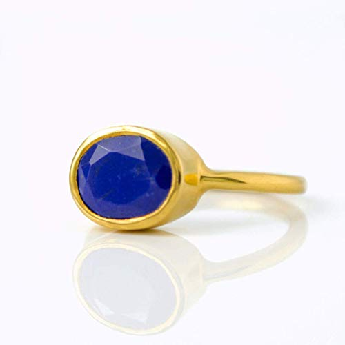 Lapis Lazuli ring, stackable ring, Vermeil Gold or silver, bezel set ring, oval ring, blue gemstone ring, September Birthstone ring, birthstone gift
